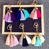 Livraison gratuite 10PCS Gold Tone alliage métal porte-clés porte-clés porte-clés avec cordon en daim décorations pendentif gland pour femme