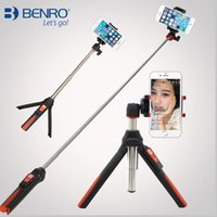 Wholesale BENRO Handheld mini Tripod in Self portrait Monopod Extendable Phone Selfie Stick with built in Bluetooth Remote Shutter