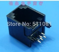 Wholesale RJ11 PCB Modular network jack telephone socket LAN plug p6c p4c p2c side entry degree black