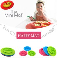 Wholesale Happy Mat Baby bowls kids tableware Kids Feeding Placemats silicone placemat plate Baby learning silicone dishes color LJJK565