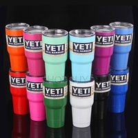 Wholesale 12 Colors oz YETI Tumbler Rambler Cups Yeti Coolers Cup Yeti Sports Mugs Large Capacity Stainless Steel Travel Mug With LOGO