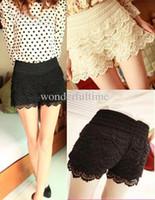 Wholesale New Fashion Womens Sweet Cute Crochet Tiered Lace Shorts Short Pants Mini short
