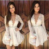 Mini Dress for Spring online - 2016 Short Lace Cocktail Dresses Long Sleeves Plunging Necklines A Line Mini Modest Party Homecoming prom Dress For Woman Cheap Custom Made