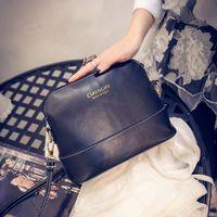 Wholesale Pure Color Design Korean Style Vintage Shell Women PU Leather Shoulder Bags Designer Handbags Small Messenger Bags