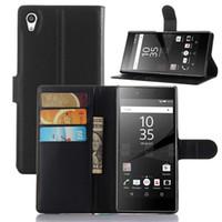 para Sony Xperia Z5 moda de la PU del teléfono celular de piel cubierta de la caja del tirón 1: 1 Montaje con soporte de la carpeta de la vendimia titular de la tarjeta con cierre magnético