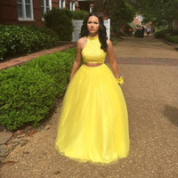 beaded sunflower - Two Pieces Evening Dresses high Neck beaded Sheer Tulle A Line Floor Length Sunflower yellow Formal Prom Party