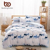 Wholesale 2016 High Quality Christmas Hot Seller Deer And Bird Comforter White Bed Sheets Designer Bedding Set Queen Size