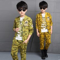 appearance settings - boys outerwear Children outer clothing sets jacket appearance Three piece camouflage toddler T shirt jacket pants casual suits outfits
