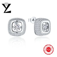 best diamond earrings - 2016 High Quality Fashion Sterling Silver Square Dancing CZ Diamond Earrings for Women Crystal Stud Earrings Best Friends Gift DE63820A