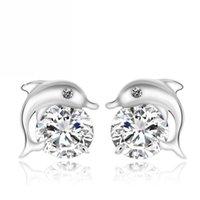 agent korea - S925 sterling silver earrings Korea Korean fashion jewelry Zircon Dolphin Bay Silver earrings agents