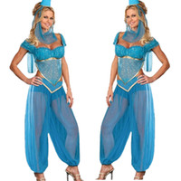 Sexy Costumes aladdin halloween costumes - Womens Sexy Blue Genie Jasmine Aladdin Ladies Fancy Dress Halloween Party Costume Outfit Plus Size M XL