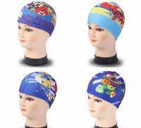 Wholesale 2016 Cartoon Kids Swim Caps New High end Nylon Kids Swimming Caps Multi Color And Printing Cartoon Kids Swim Caps Free