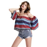 Wholesale Sexy Ladies Stripping - 2016 Ladies Floral Printed Strips Women tshirt Sexy Off Shoulder Top Half Sleeve Casual Loose Summer T-shirt Tee Shirt Femme FS0326