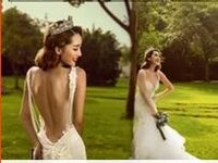 beach dress bag - 2016 Hot Sexy Halter wedding dress photo and the wind bag hip delicate white yarn tail fish