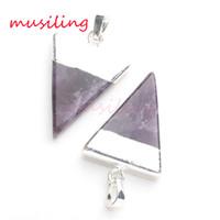 amethyst slices - Natural Stone Crystal Pendant Triangle Pyramid Slice Charms Amethyst Crystal Quartz etc Accessories European Fashion Jewelry