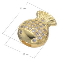 Wholesale Beads For Jewelry Making Cubic Zirconia Micro Pave Copper Bead Fish Plated More Colors For Choice x10mm Hole mm