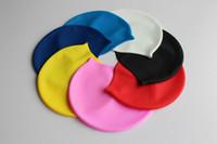 adult swim caps - Men Pure Color Swimming Cap Unisex Silicone Adult Big Size High Elasticity Swim Caps For Women