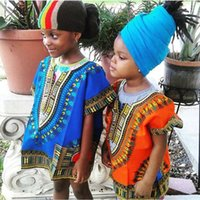 Wholesale 10P Child New Fashion Design Traditional African Clothing Print Dashiki T shirt For Boys and Girls