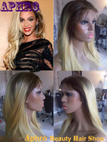 beyonce hairstyles - Premium Platinum Blond Glueless Full Lace Wigs with Dark Roots density Indian Hair Beyonce Straight Light Blonde Lace Front Wigs