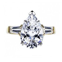 baguette anniversary rings - 5 ct Pear Baguette Cut Diamond Trilogy Ring K Yellow Gold Anniversary Ring