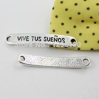 Wholesale 50pcs Spanish words logo Connectors Tibetan silver for Bracelet Clasps Beads x38mm K01659