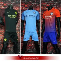 Wholesale A Quality Manchester City Jersey kit Home away third Rugby Jerseys KUN AGUERO STERLING DE BRUYNE NOLITO NASR