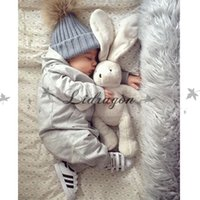 ball beanie babies - Fashion Children Kids Winter Fur Hat Girls Boys Fur pom poms Ball Baby Beanies Cap Kids Crochet Knitted Hats M344