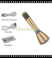 Wholesale Newest K068 Wireless bluetooth Microphone microfone with Mic Speaker Condenser Mini Karaoke Player KTV Singing Record for Phones Computer