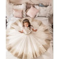 baby ceremonies - 2017 Angel Princess Flower gril Dress for Wedding Ceremony champagne Lace Waist Sash Baby toddler floor length Children pageant Dresses