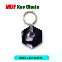 advertisement women - Drop shipping Fashion New Design hexagon Sublimation Wooden MDF Key Chains White Blank For Advertisement