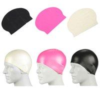 Wholesale 3 Colors Men Women Adults Swimming Caps Waterproof Sports Siwm Pool Swimming Protect Ears Latex Cap Hat Free size