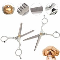 Wholesale 1PC New Arrival Professional Pet Dog Cat Grooming Hair Cutting Thinning Scissors Pet Shears Hairdressing Comb