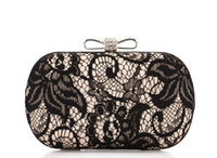 Wholesale Women Hollow Lace Clutch Bags Lace Silks Satin Bow Shoulder Bag Evening Bags Party Bag Fashion Brand New Beautiful HuiLin KY29
