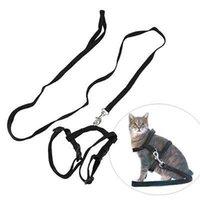 Wholesale Cat Harness Leash Nylon Adjustable Pet Traction Harness Belt Cat Kitten Halter Collar High Quality cm Colors