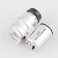 Wholesale 45X LED Portable Magnifier Mini Microscope Pocket Jeweler Loupes Glass Great Silver Lens Magnifying Glass Optical Instruments