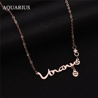 aquarius necklaces - Never Fade AQUARIUS Zodiac Signs Pendant Necklace Stainless Steel Choker Necklace For Women Christmas Gift