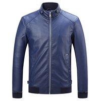 Wholesale Fall New Leather Jacket Men s Coats Fashion Stand Collar Jacket male Outwear Men s Autumn PU Leather Jacket XXXL DA059