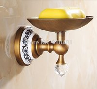 antique crystal dishes - Hot Sale And Retail Promotion NEW Antique Brass Soap Dish Holder Crystal Style Bathroom Wall Mounted Soap Dish
