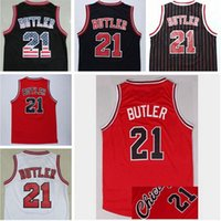 Wholesale Jimmy Butler Jersey The City Jimmy Butler Jerseys black red stripe embroidery sport Throwback Jersey White Blue Black Color