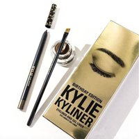 Wholesale 3 Colors Kylie Kyliner Kit Eyeyliner Gel Liner Gel Cream With Brush New Cosmestics Black Brown Set eyeliner gel liner brush