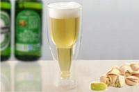 glass milk bottle - Hopside Down Bottle Creative Double Wall Beer Wine Milk Beverage Vodka Shot Glass Beer Mug Drinking Cup Durable Cups for Party Bar