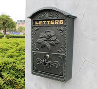 antique mailboxes - Antique Wall Mount Cast Aluminum Flower Mailbox Embossed Trim Decor Dark Green Metal Mail Letters Post Box Yard Patio Free Ship