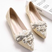 Wholesale Summer new Europe and the United States tide shoes pointed pearl diamond flat sandals baotou low help shoes bride maid of honor