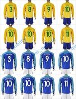 Wholesale New Product Uniforms Kit Copa America Jersey Brazil WILLIAN MARCELO NEYMAR JR Soccer Jersey Blue Away Yellow Long Sleeve