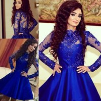 Wholesale 2017 New Sexy Royal Blue Arabic Long Sleeves Lace Cocktail Dresses Satin A Line Mini Short Party Evening Prom Dresses