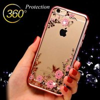 apple iphone secrets - Bling Diamond Electroplate Frame Soft TPU Case For iPhone SE S Plus Secret Garden Flower Clear Cover for iPhone SE