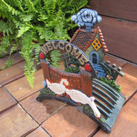 Wholesale Cast Iron Country Rural Hose Holder Welcome Wall Mounted Hose Hanger Hand Painted Ornate Garden Yard Outdoor Art