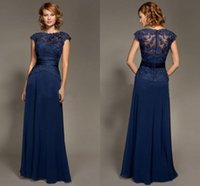 art bride - 2016 Chiffon Navy Blue Mother of the Bride Dresses High Neck Cap Sleeves Lace Bodice Floor Length Chiffon Mother Dresses Party Evening Dress