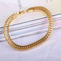 Wholesale 18K Gold Plated Bracelet Unisex Women Men Jewelry Gift Bracelets Bangles Gold Wide Chain Link Bracelet Hot