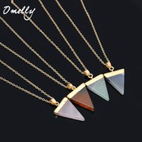 Wholesale Natural Stone Crystal Quartz Healing Point Chakra Gemstone Gold Plated Triangle Pendant Necklaces stone Jewelry Cristal Jewellry